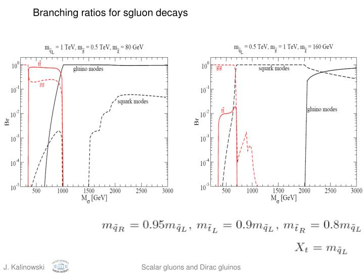 Branching ratios for sgluon decays