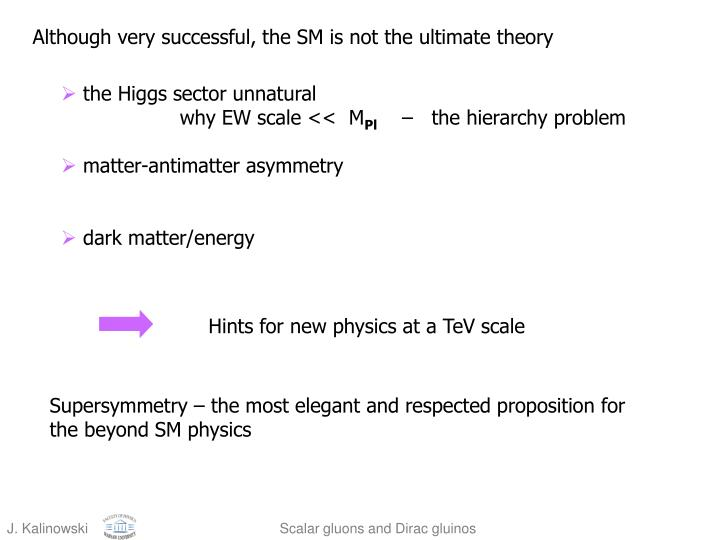 Although very successful, the SM is not the ultimate theory