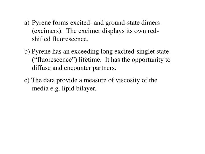 Pyrene forms excited- and ground-state dimers (excimers).  The excimer displays its own red-shifted fluorescence.