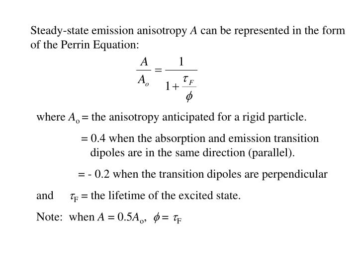 Steady-state emission anisotropy