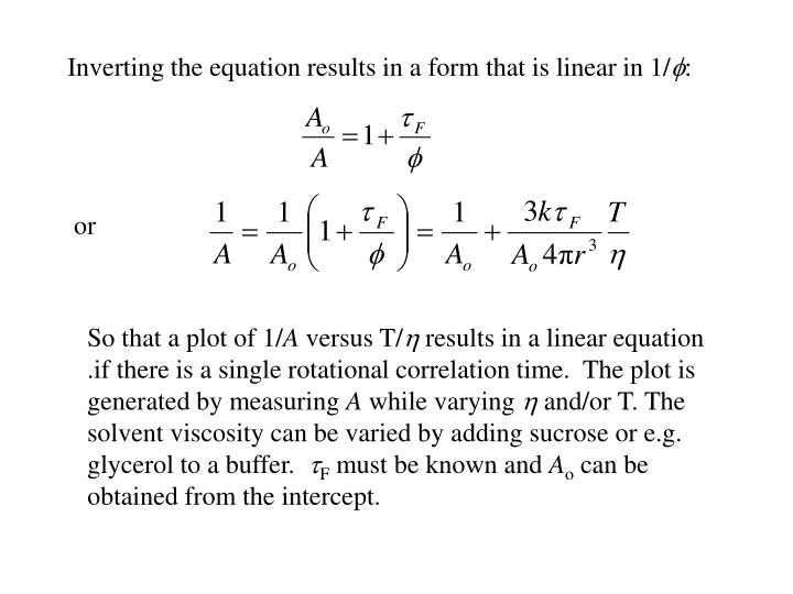 Inverting the equation results in a form that is linear in 1/