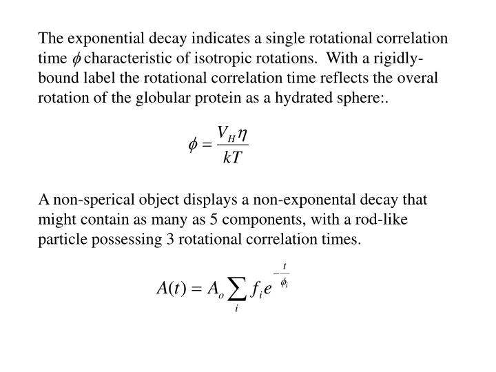 The exponential decay indicates a single rotational correlation time