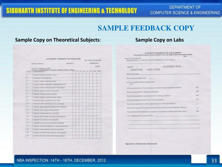 SAMPLE FEEDBACK COPY