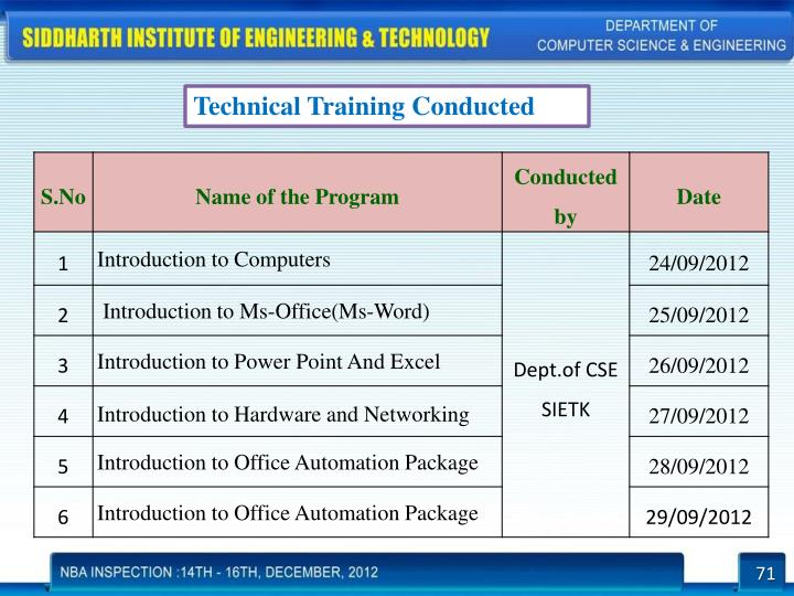 Technical Training Conducted