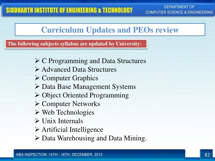 Curriculum Updates and PEOs review