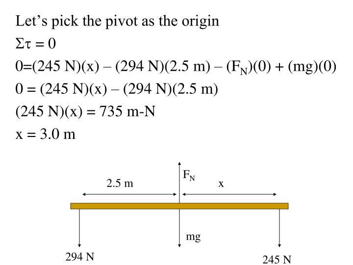 Let's pick the pivot as the origin