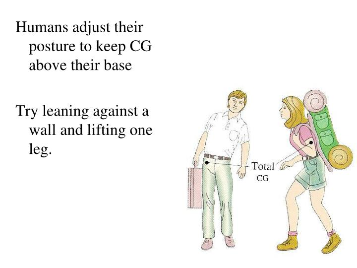 Humans adjust their posture to keep CG above their base