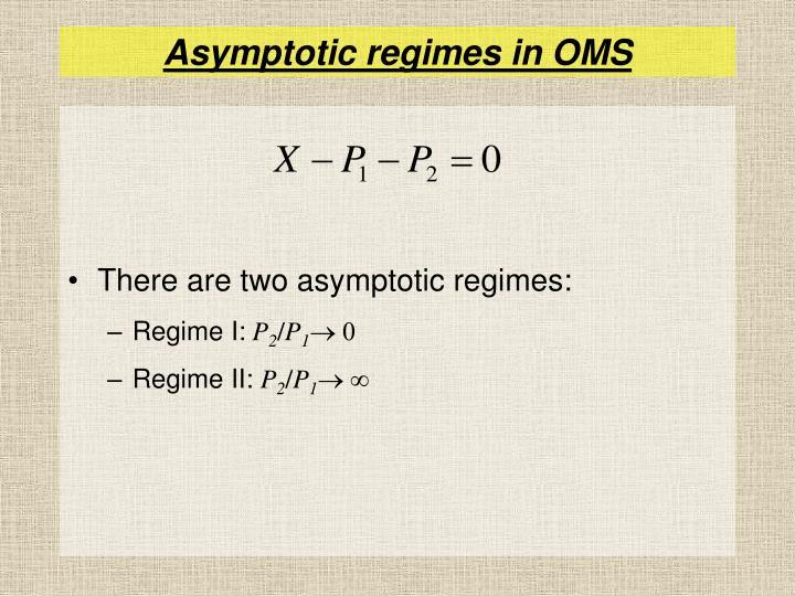 Asymptotic regimes in OMS