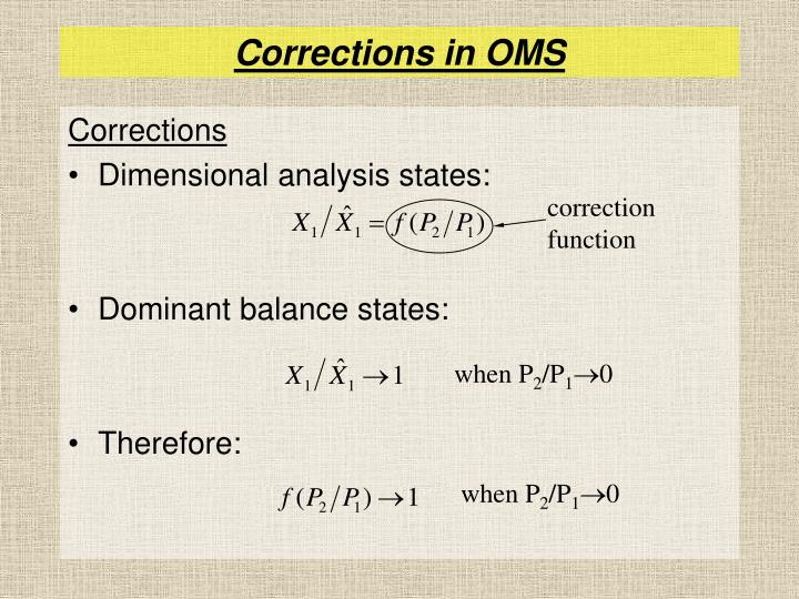 Corrections in OMS