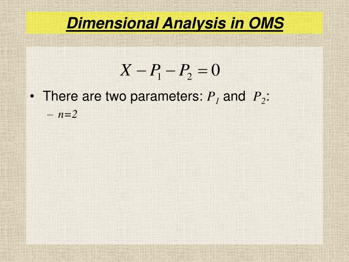 Dimensional Analysis in OMS