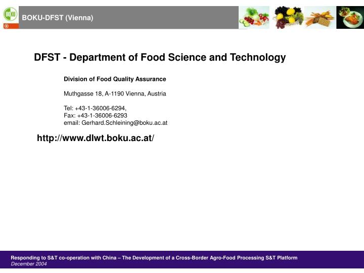 DFST - Department of Food Science and Technology