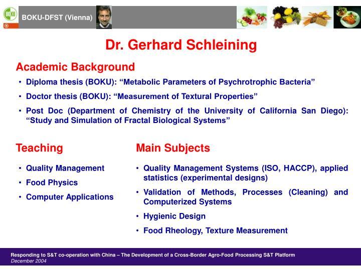 Dr. Gerhard Schleining