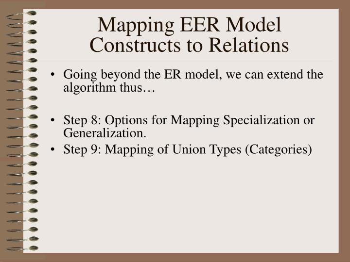 Mapping EER Model Constructs to Relations