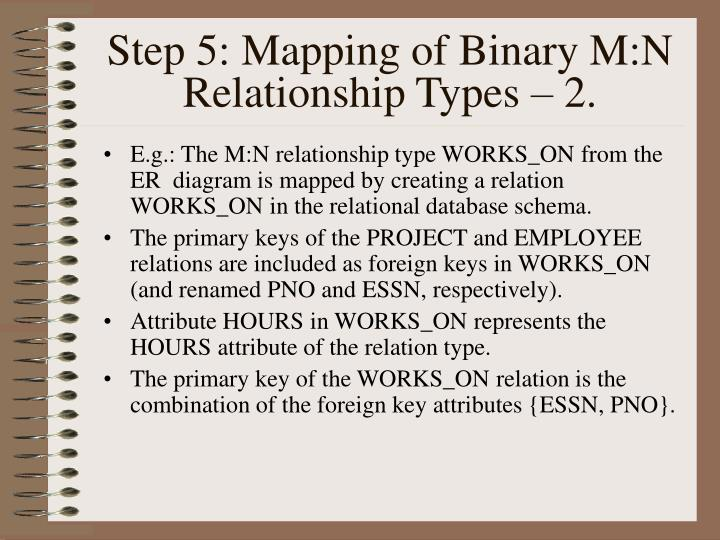 Step 5: Mapping of Binary M:N Relationship Types – 2.