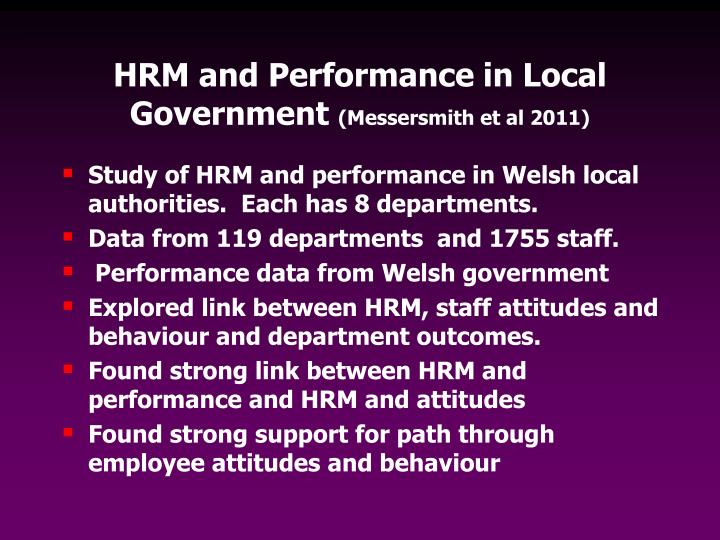 HRM and Performance in Local Government