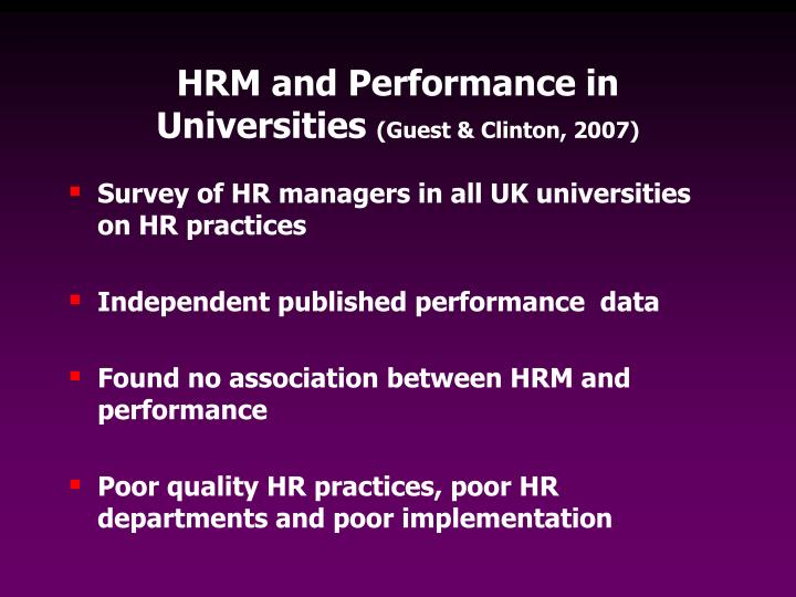 HRM and Performance in Universities