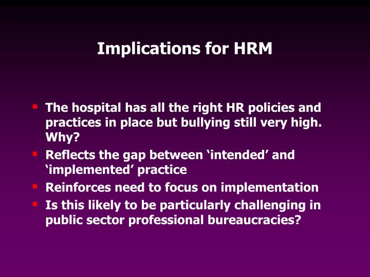 Implications for HRM