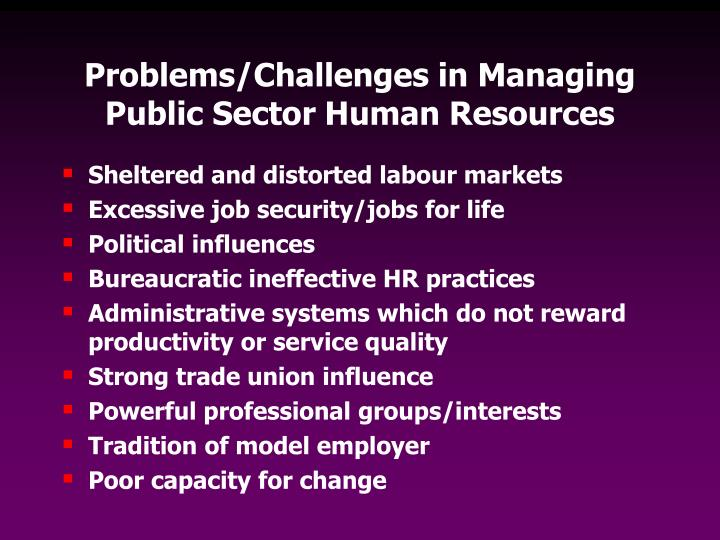 Problems/Challenges in Managing Public Sector Human Resources