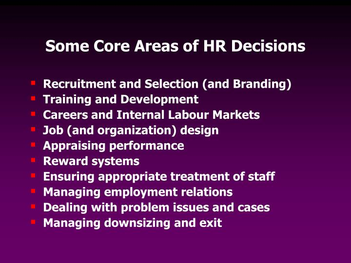 Some Core Areas of HR Decisions