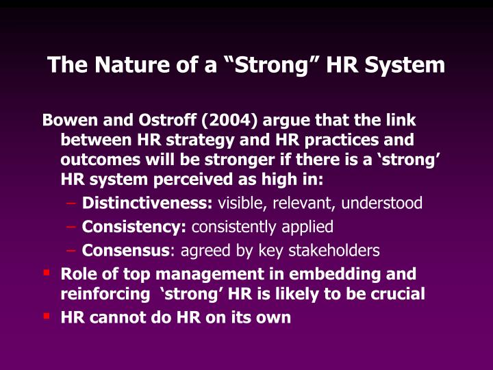 "The Nature of a ""Strong"" HR System"