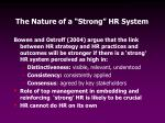 the nature of a strong hr system