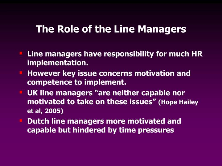 The Role of the Line Managers