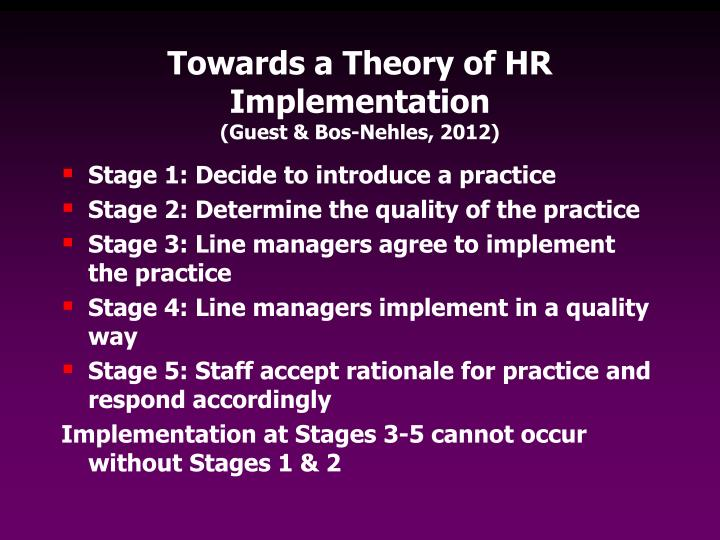Towards a Theory of HR Implementation