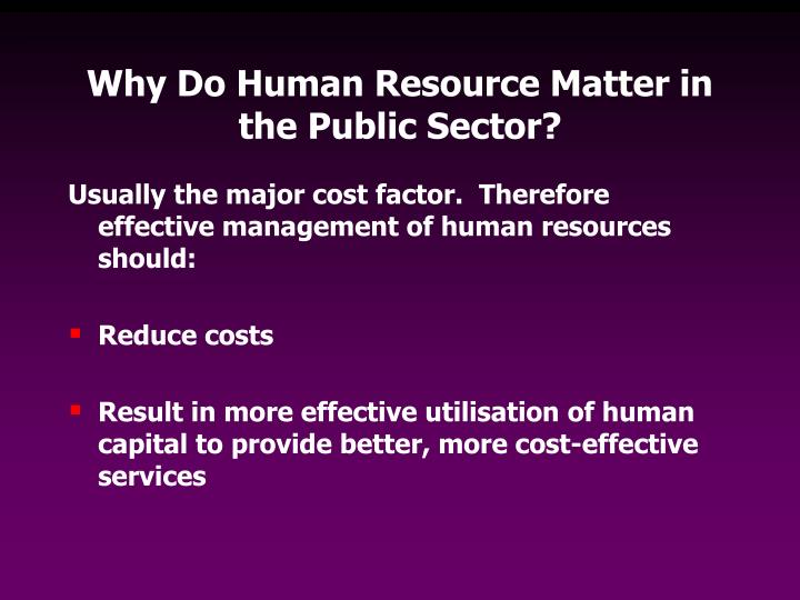Why Do Human Resource Matter in the Public Sector?