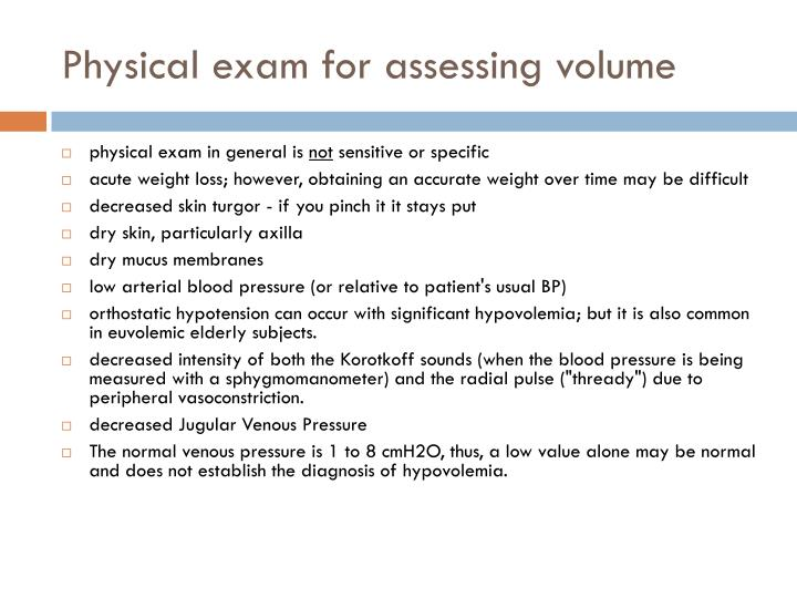 Physical exam for assessing volume