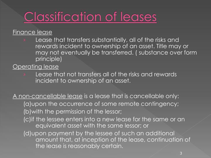 Classification of leases