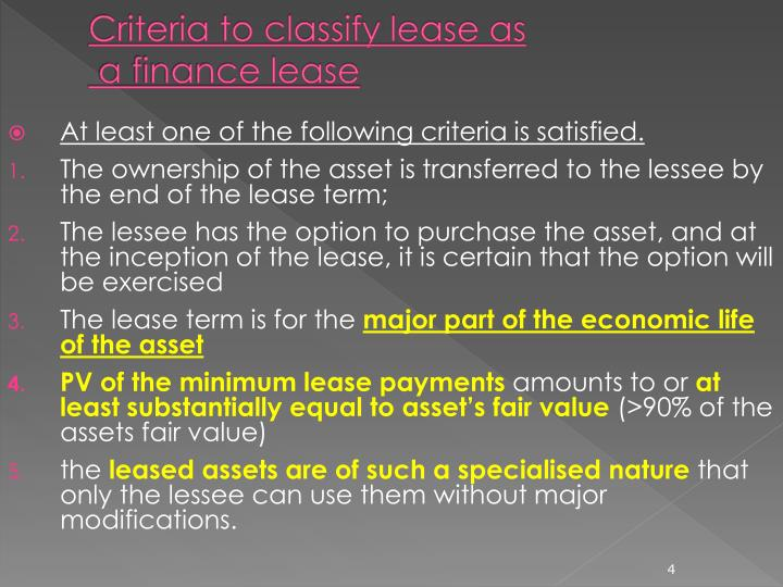 Criteria to classify lease as