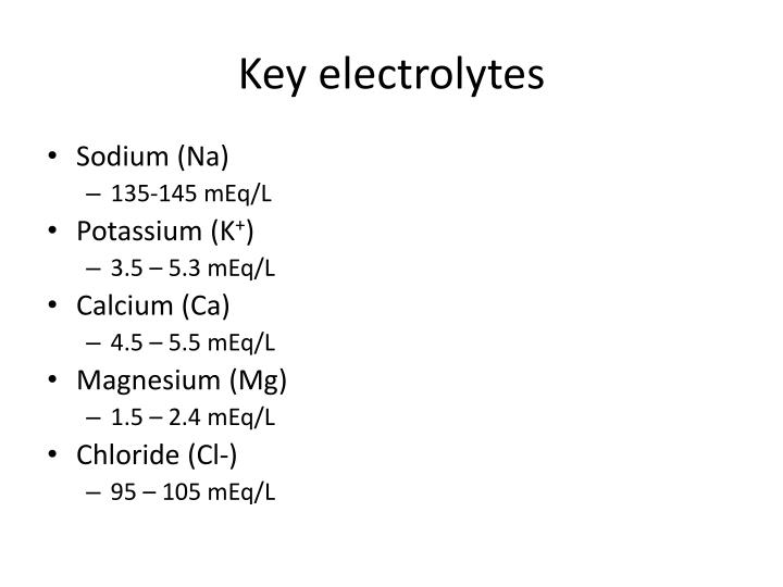 Key electrolytes
