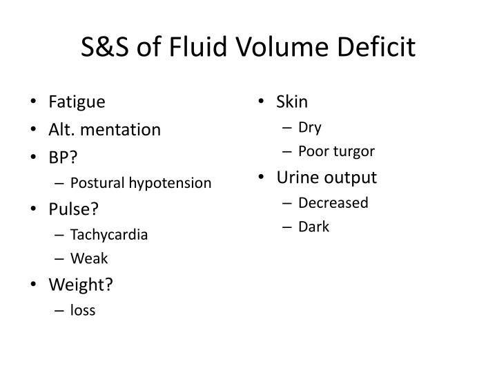 S&S of Fluid Volume Deficit
