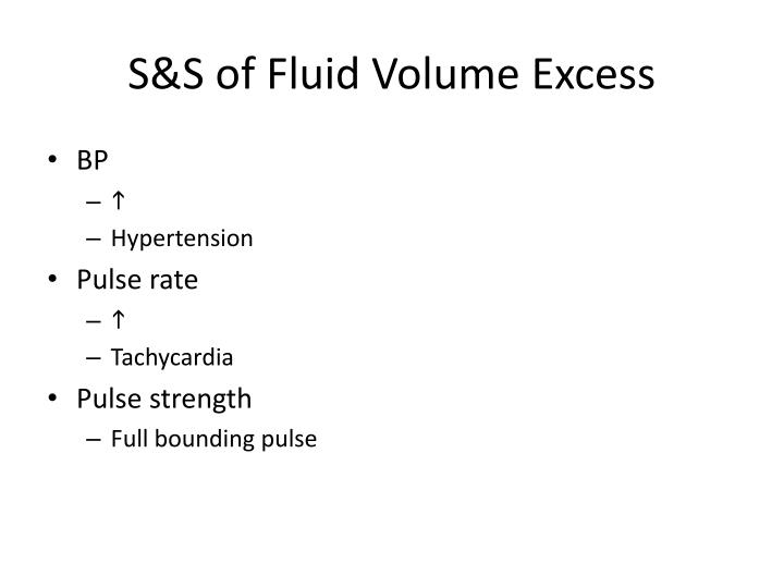 S&S of Fluid Volume Excess