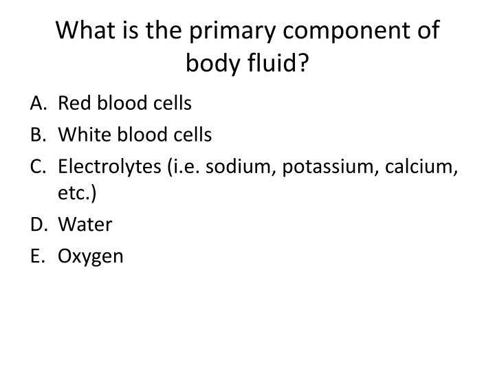 What is the primary component of body fluid?