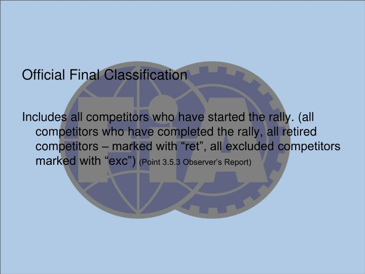 Official Final Classification