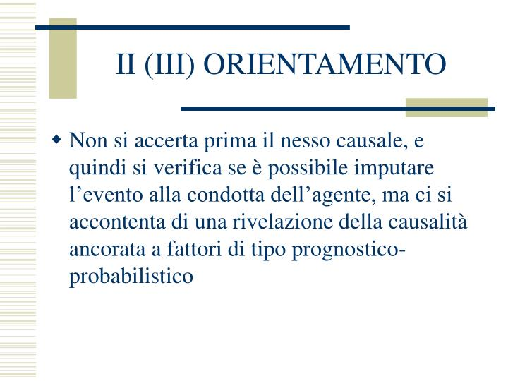 II (III) ORIENTAMENTO