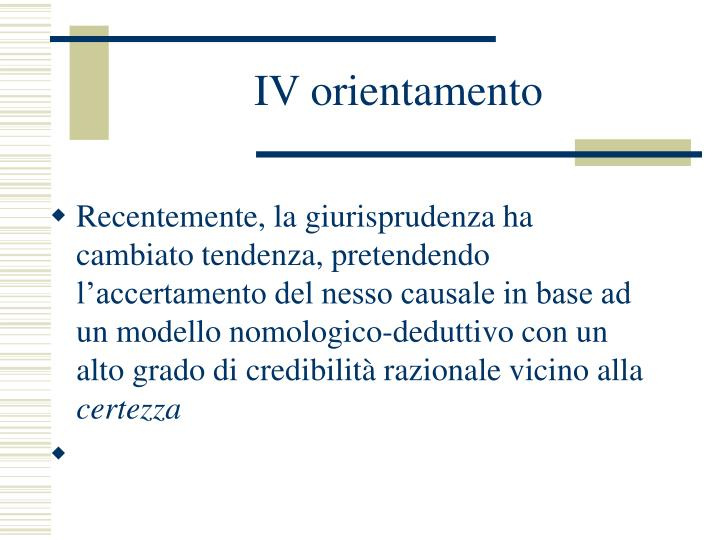 IV orientamento