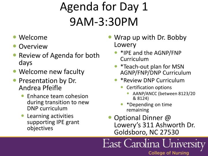 Agenda for Day 1