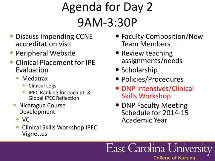 Agenda for Day 2