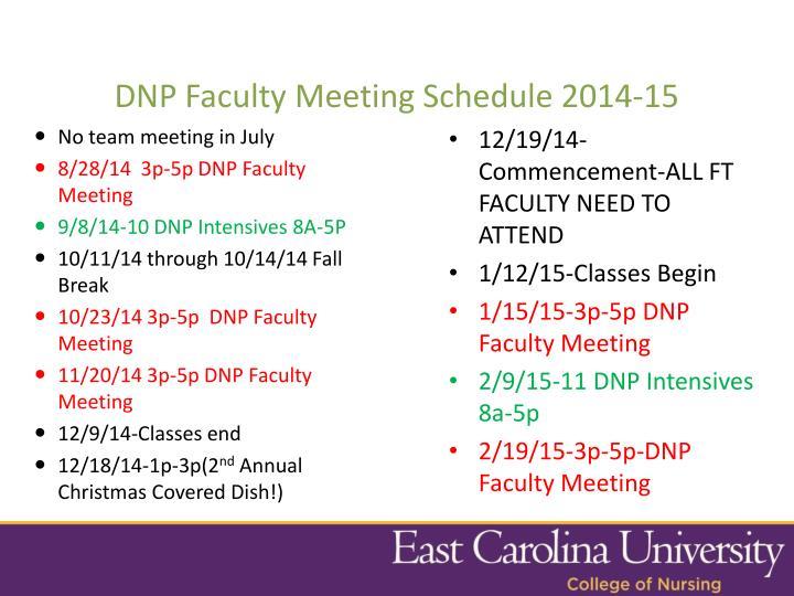 DNP Faculty Meeting Schedule 2014-15