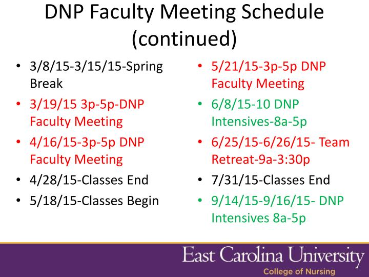 DNP Faculty Meeting Schedule (continued)