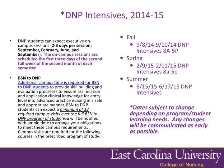 *DNP Intensives, 2014-15