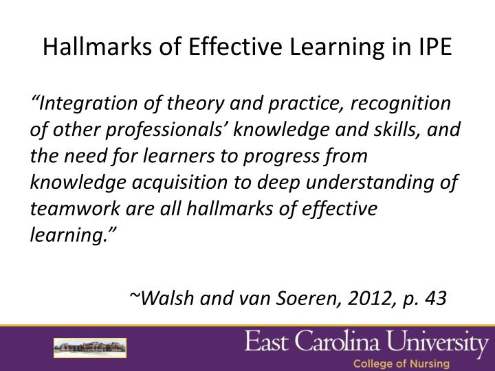 Hallmarks of Effective Learning in IPE
