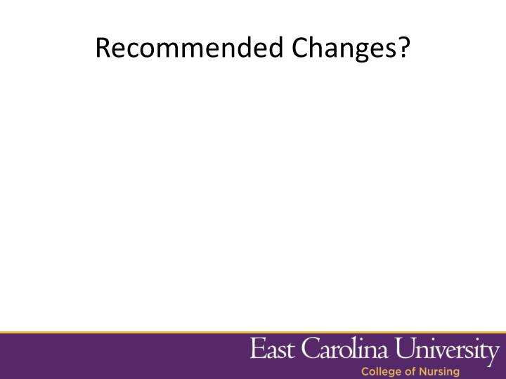 Recommended Changes?