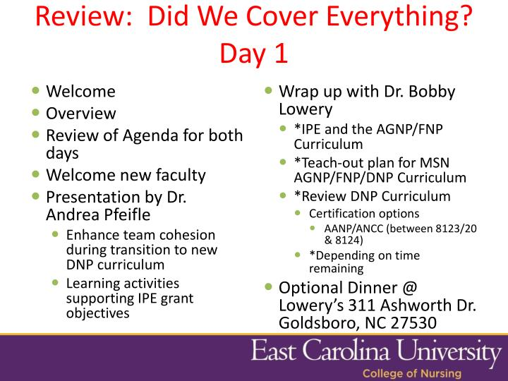 Review:  Did We Cover Everything? Day 1