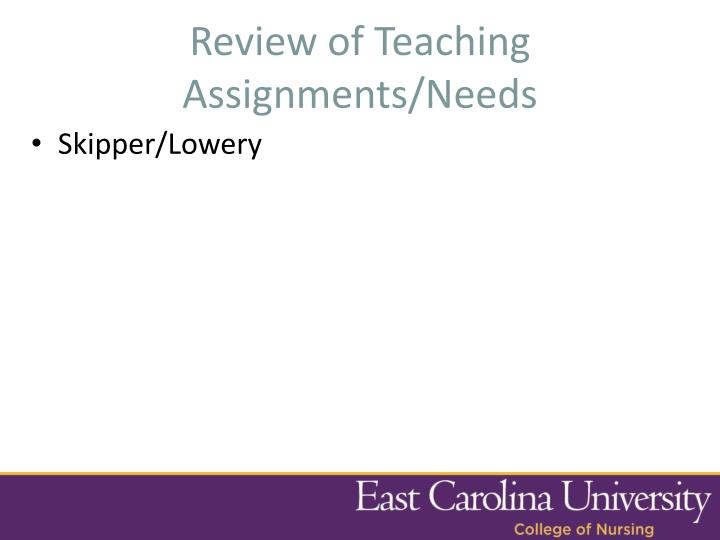 Review of Teaching Assignments/Needs