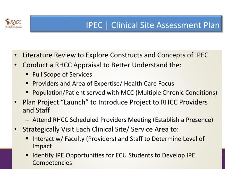IPEC | Clinical Site Assessment Plan