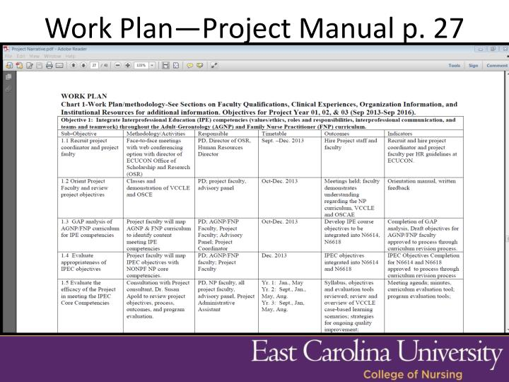 Work Plan—Project Manual p. 27
