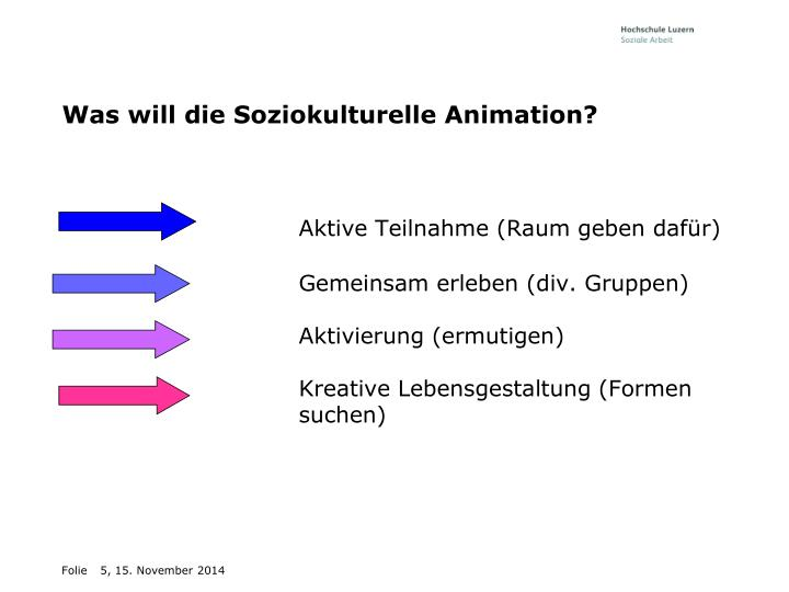 Was will die Soziokulturelle Animation?